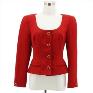 J1 VICTOR COSTA Nahdree Designer Jacket Size 6 Red